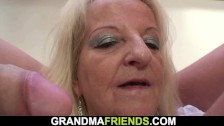 Very Hot Blonde Sexy Granny Swallows Two Huge Cocks